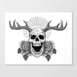 Skull with Antlers Canvas Print