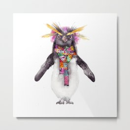 Penguin in a scarf (female) Metal Print