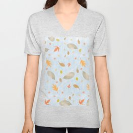 Pastel blue marble gold brown fall leaves pattern Unisex V-Neck