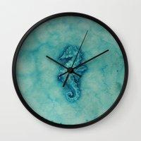 seahorse Wall Clocks featuring seahorse by Diane Nicholson