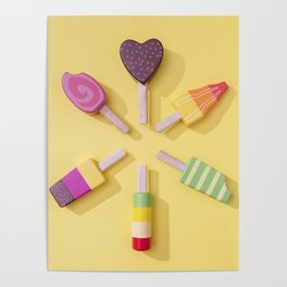 Ice Cream Lollipops on a Bright Yellow Background Poster