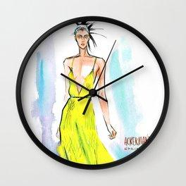 Fashion #59: Woman in a long yellow dress Wall Clock