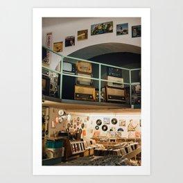 Vinyl store in Budapest Art Print