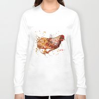 chicken Long Sleeve T-shirts featuring Chicken by libby's art studio