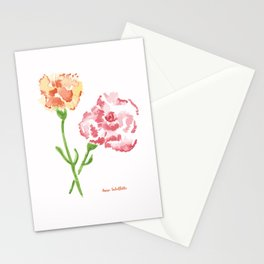 Pink and Orange Carnations Stationery Cards