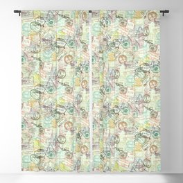 Passport Stamps Blackout Curtain