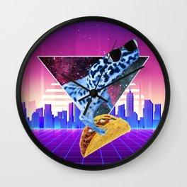 Aesthetic Synthwave Leopard Gecko Taco Wall Clock