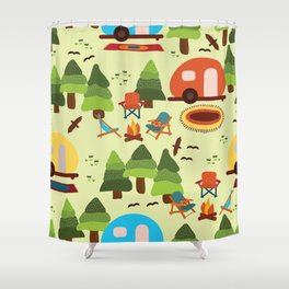 Camping scene - caravan, camping chairs, fire place, rugs, trees, birds. Seamless vintage pattern.  Shower Curtain