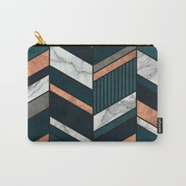 Abstract Chevron Pattern - Copper, Marble, and Blue Concrete Carry-All Pouch