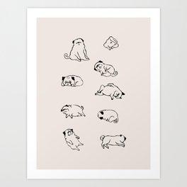 More Sleep Pug Art Print