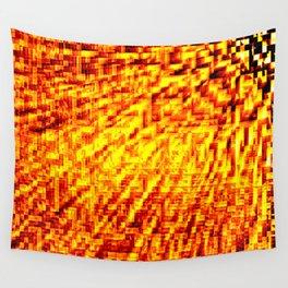 Golden Pixel Wind Wall Tapestry