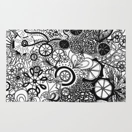 Growth in 3 Directions - Black and White Rug