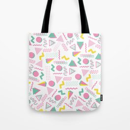 Abstract retro pink teal yellow geometrical 80's pattern Tote Bag