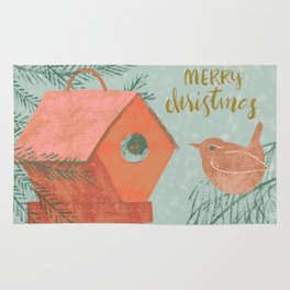Merry Christmas Wren with Bird House Rug