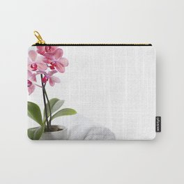 spa composition with beautiful pink orchid over white Carry-All Pouch