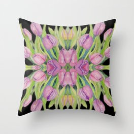 Flower Power - Pink Tulips Kaleidoscope Throw Pillow