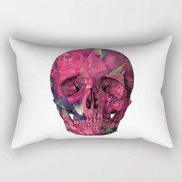 Vintage Anatomical Skull Grunge Pink Roses Rectangular Pillow