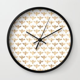 Gold Bees Patten Wall Clock