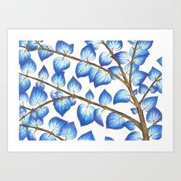 Breezy Blue Leaves Art Print