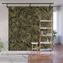 Black and gold ethnic paisley pattern Wall Mural