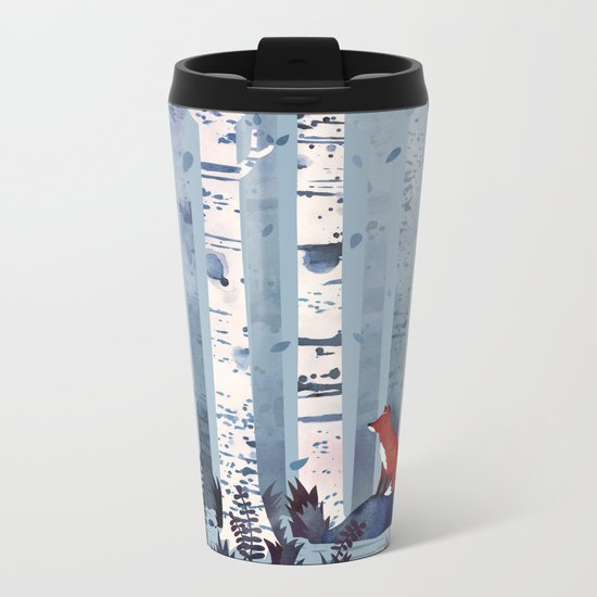 The Birches (in Blue) Metal Travel Mug
