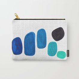 Colorful Mid Century Modern Pop Art Minimalist Style Teal Blue Aquamarine Bubbles White Background Carry-All Pouch