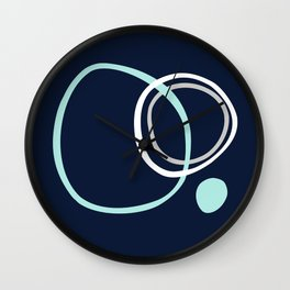 Nautical Modern Contemporary Circles Navy, Aqua, Grey Wall Clock