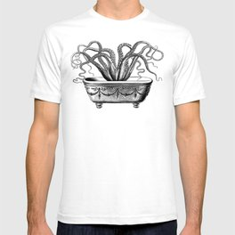 Tentacles in the Tub | Octopus | Black and White T-shirt