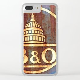 Rusty Railroad Sign Clear iPhone Case