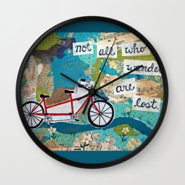 Not all who Wander are Lost - Red Tandem Bicycle Wall Clock