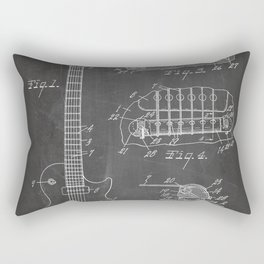 Gibson Guitar Patent - Les Paul Guitar Art - Black Chalkboard Rectangular Pillow