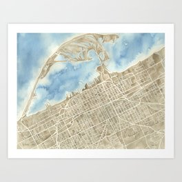 Watercolor Map Erie Pennsylvania sepia and indigo Art Print