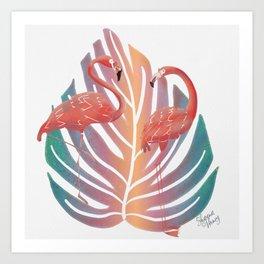 Flamingos on Pastel Rainbow Monstera Leaf Art Print