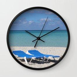 Deck Chairs on Beach Wall Clock