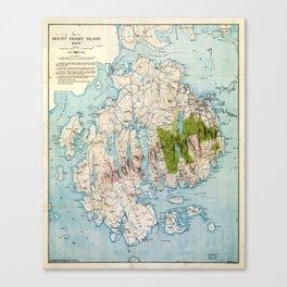 Map of Mount Desert Island, Maine (1917) Canvas Print