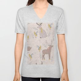 Christmas Deer and Bird Unisex V-Neck