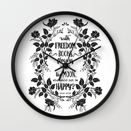 Freedom & Books & Flowers & Moon Wall Clock