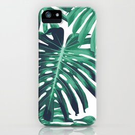 Green tropical leaves iPhone Case