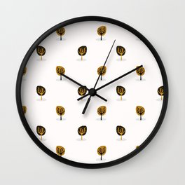 Stylised Tree Wood Repeating Seamless Pattern, Hand Drawn Vintage Style Wall Clock