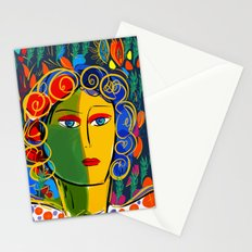 The Green Yellow Pop Girl Portrait Stationery Cards
