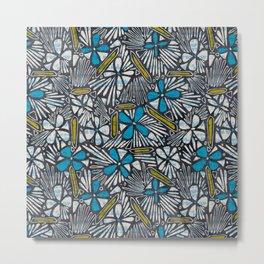 Asha Floral - Blue Metal Print