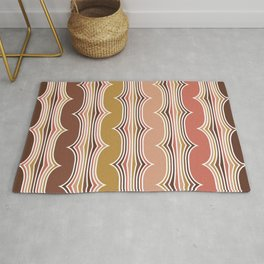 Geometric Art, Colorful Stripes, Terracotta, Yellow, Coral, Brown,Retro Art Rug