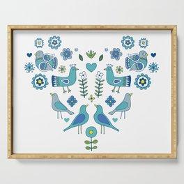 Scandi Folk Birds - blue & white Serving Tray