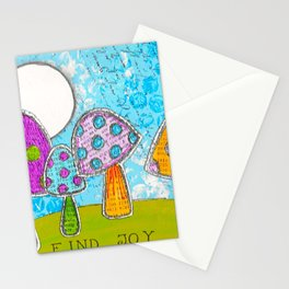 Mushroom Mixed Media Painting in Dyan Reaveley Style with Bright and Vibrant Colors Stationery Cards