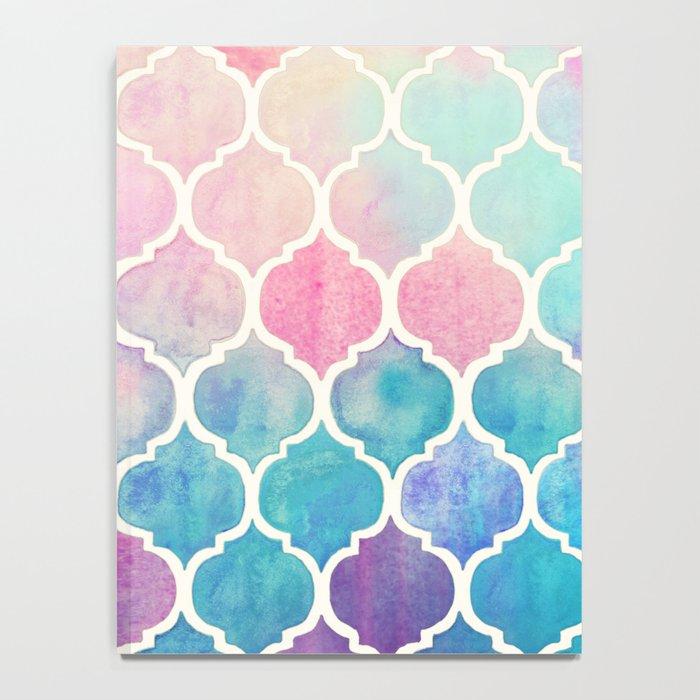 Rainbow Pastel Watercolor Moroccan Pattern Notebook