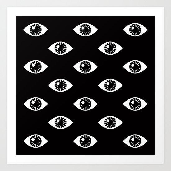 EYES WIDE OPEN ON BLACK Art Print