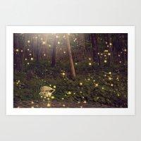 fireflies Art Prints featuring Fireflies by Maureen Anne