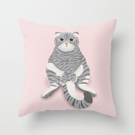 British cat digital illustration Throw Pillow
