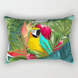 Fresh Parrot Tropical Banana Leaves Bouquet Rectangular Pillow