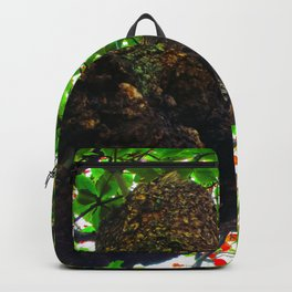 big tree with green leaves and red leaves Backpack